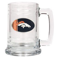 Engraved Denver Broncos Glass Beer Mug