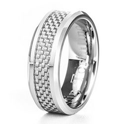 Men's Silver Carbon Fiber Inlay Cobalt Ring