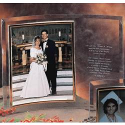"Personalized Vertical 8 x 10"" Vertical Bent Crystal Picture Frame"