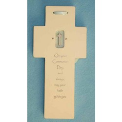 Communion Day Wall Cross with Blue Satin Ribbon