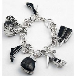 Silvertone Finish Shoes and Handbags Charm Bracelet