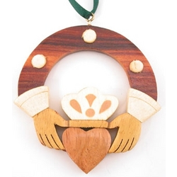 Wood Claddagh Ring Christmas Tree Ornament