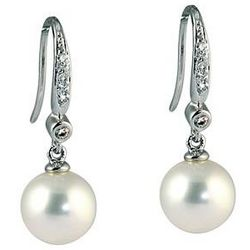 Natural Freshwater Round Pearl and Diamond Drop Earrings