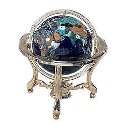 9 Inch Blue Lapis Gemstone Metropolitan Globe