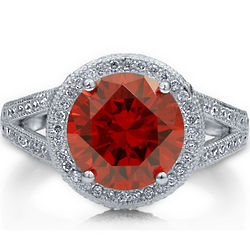 Sterling Silver Garnet Cubic Zirconia Split Shank Cocktail Ring