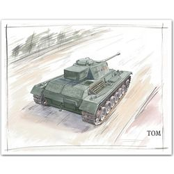 Roll Out! Personalized Tank Watercolor Print