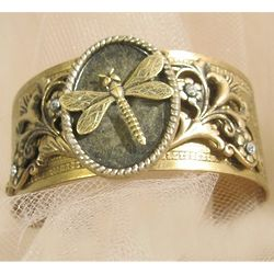 Victorian Dragonfly Cuff Bracelet