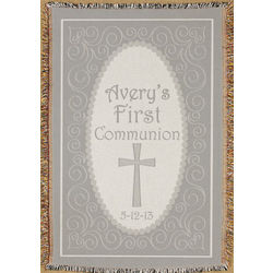 Personalized First Communion Tapestry Throw Blanket