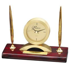Personalized Rosewood Desk Clock with Double Pen Stand