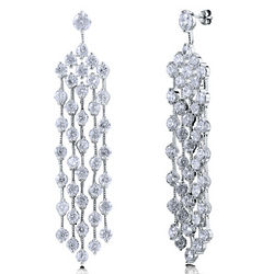 Cubic Zirconia Silvertone Chandelier Earrings