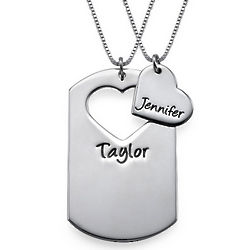 Couple's Personalized Dog Tag Necklace with Cut Out Heart