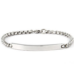 Engravable Round Box Link ID Bracelet