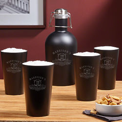 Carraway Stainless Steel Growler with Personalized Pint Glasses