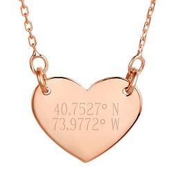 Personalized Coordinate Rose Gold Heart Necklace