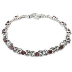 Enchanting Scarlet Garnet Link Bracelet