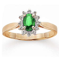 14k Yellow Gold Emerald Diamond Fashion Ring