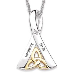 Sterling Silver Couples Two-Tone Trinity Knot Name Pendant