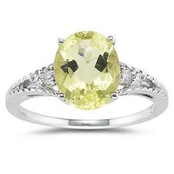 Oval Cut Lemon Quartz and Diamond Ring in White Gold