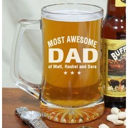 Engraved Most Awesome Parent Glass Mug