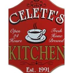 Caffe Kitchen Personalized Wooden Sign
