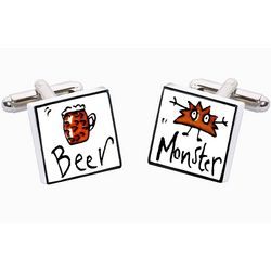 Beer Monster Bone China Cufflinks
