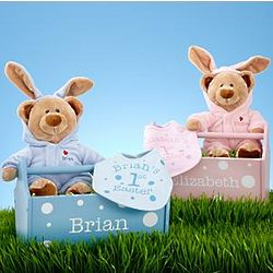 Personalized Baby's First Easter Caddy, Bib, and Teddy Bear