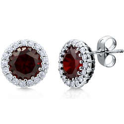 Garnet Color Cubic Zirconia Halo Stud Earrings