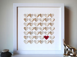 Personaized Ivory Hearts in a Shadow Boxed Frame