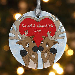Reindeer Couple Personalized Christmas Ornament
