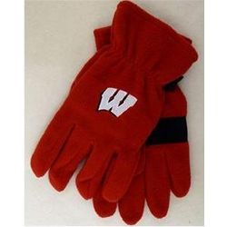 Wisconsin Adult Red Fleece Gloves