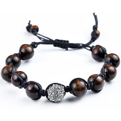 Shamballa Inspired Wood Bead Bracelet