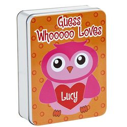 Owl Personalized Valentine Treat Tin
