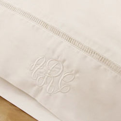 Personalized White Standard Pillowcase with Embroidery Accent