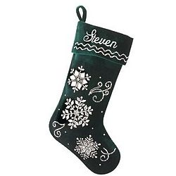 Personalized Crystal Snowflake Green Velvet Stocking