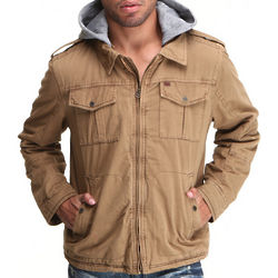 Men's Khaki Washed 2 Pocket Hoodie Jacket