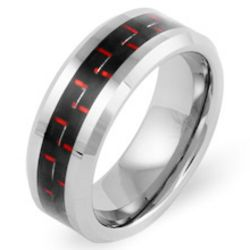 Men's Tungsten Ring with Red Carbon Fiber Inlay