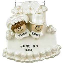 Personalized Bride and Groom on Cake Christmas Ornament
