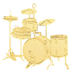 Goldtone Drum Set Ornament