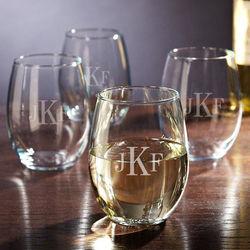 4 Premium Glass Monogrammed Stemless Wine Glasses