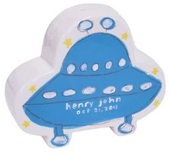 Personalized Blue UFO Coin Bank