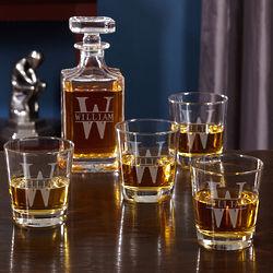 Personalized Oakmont Whiskey Decanter Set with Rocks Glasses