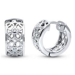 Sterling Silver CZ Clover Small Huggie Earrings