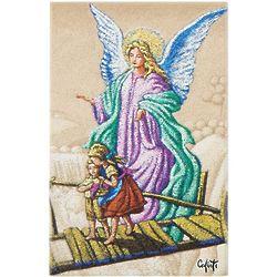 """Guardian Angel with Children on Bridge 6"""" Wood Plaque"""
