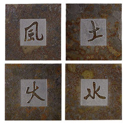 Elemental Kanji Symbols Slate Coaster Set