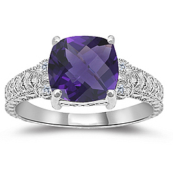 Amethyst & Diamond Antique Filigree Ring