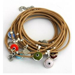 Leather Bracelet with Sterling Silver Evil Eye Charms