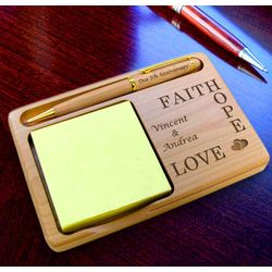 Personalized Faith, Hope, Love Wooden Notepad and Pen Holder