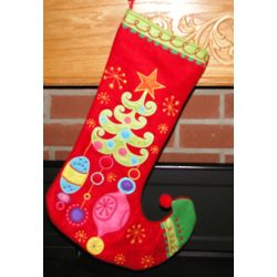 Curled Toe Holiday Cheer Personalized Christmas Stocking