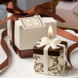 Ivory and Brown Gift Box Candle Favor