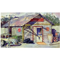 Garage Workshop Watercolor Personalized Print